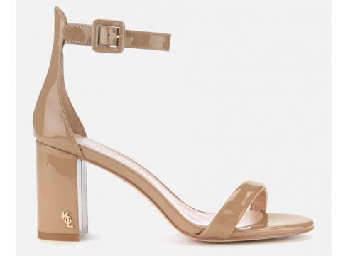 Kurt Geiger London Women\'s Langley Patent Block Heeled Sandals - Camel - UK 3 - Nude(68698634)