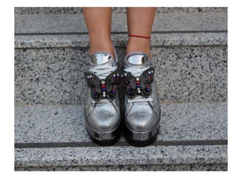 Dizzy Gümüş Kelebek Fiyonklu Sneaker Ayakkabı(118440585)